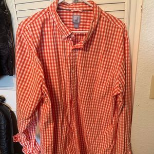 Men's checkered orange dress shirt